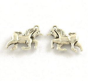 15 UNICORN CHARMS PENDANTS BRIGHT TIBETAN SILVER 16mm 3D TOP QUALITY C28