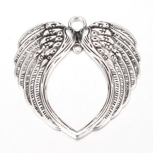 LARGE ANGEL WINGS CHARMS PENDANT BRIGHT TIBETAN SILVER 69mm C120