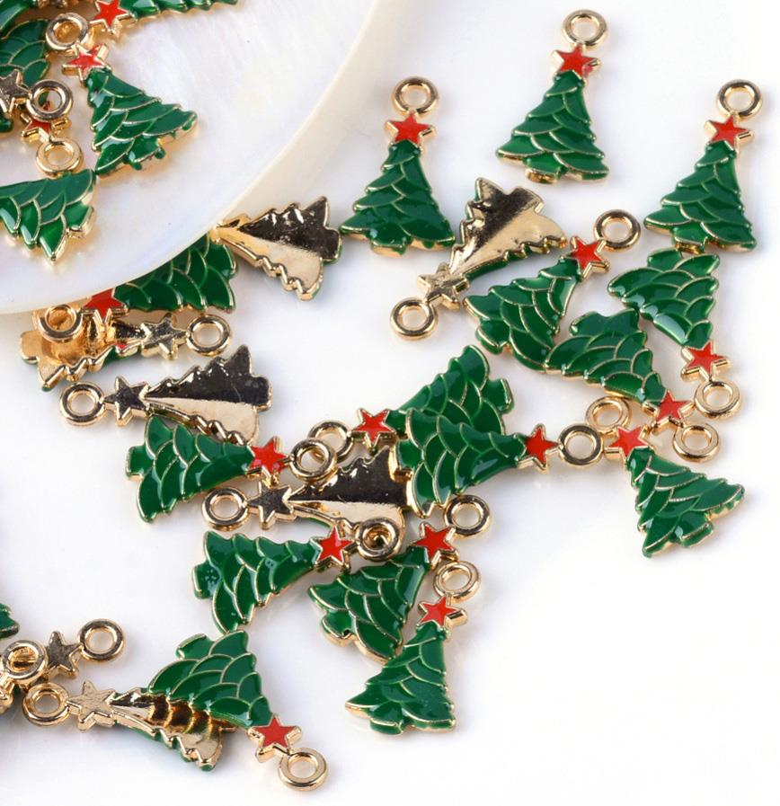5 ENAMEL XMAS CHRISTMAS TREE CHARMS PENDANT 21mm GREEN TOP QUALITY C204