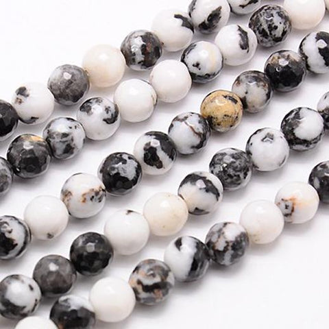 20 PREMIUM QUALITY BLACK WHITE ZEBRA AGATE FACETED ROUND GEMSTONE BEADS 10mm GS9