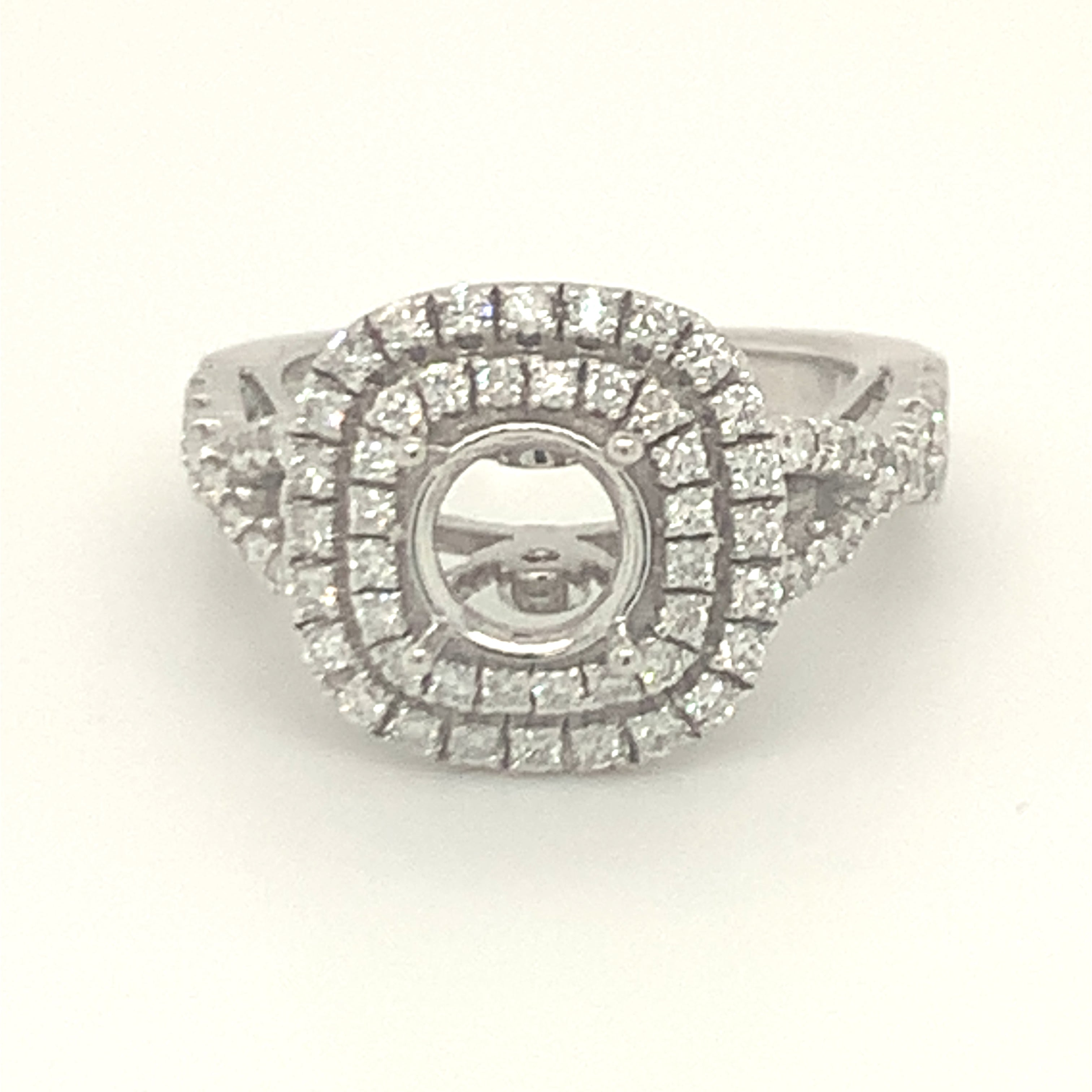 Diamond halo double row twisted design without center piece