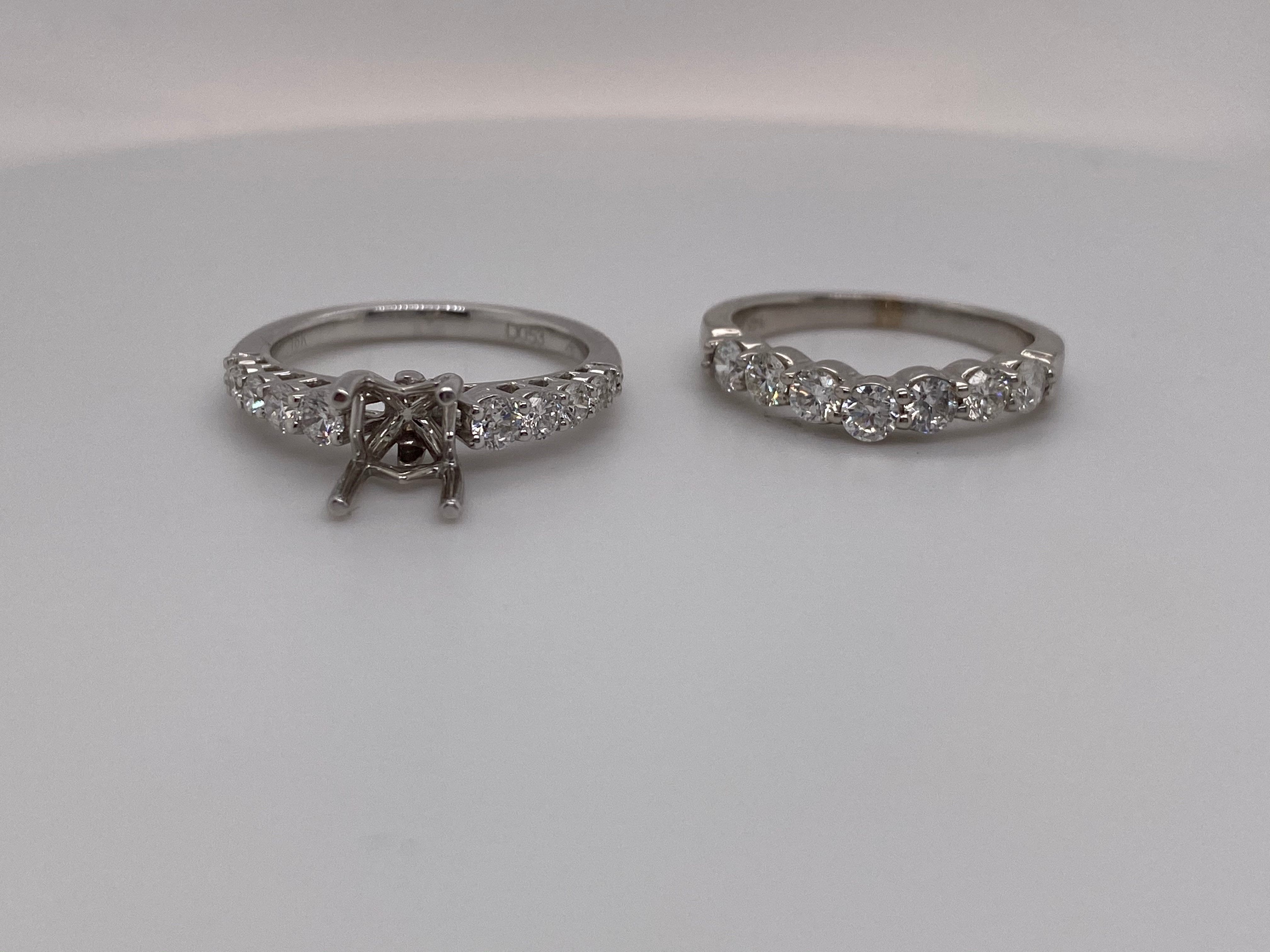 Diamond engagement ring with matching band set of 2 without center piece