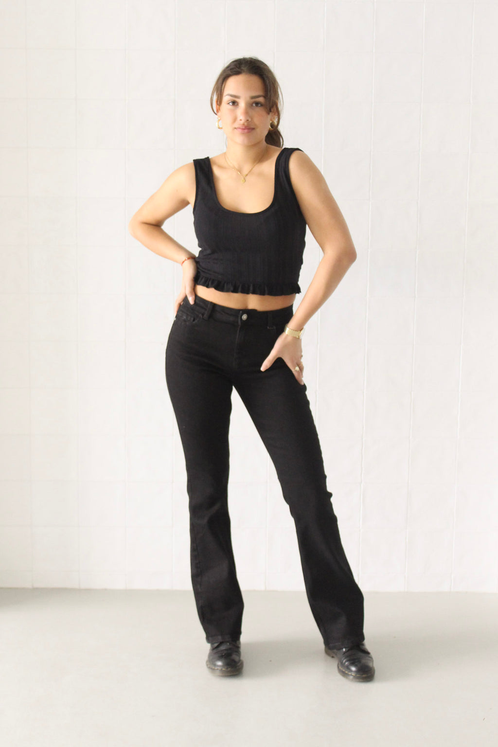 Flared black jeans