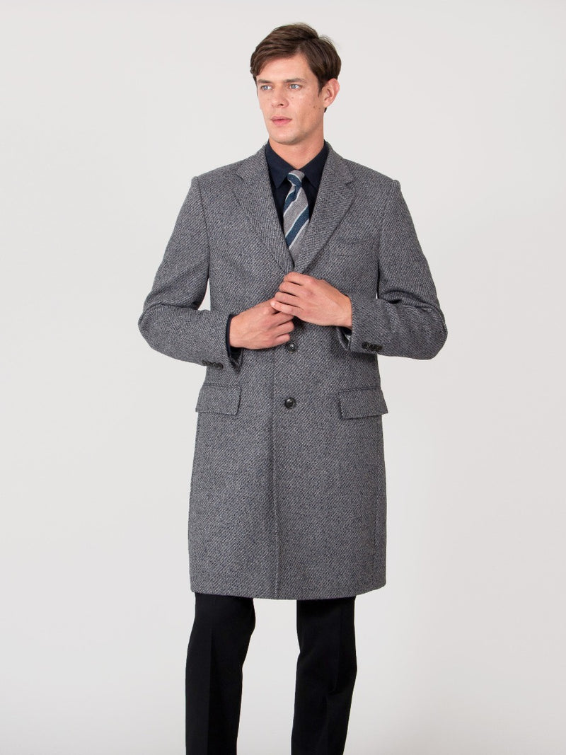 Grey Wool And Alpaca Blend Covert Coat