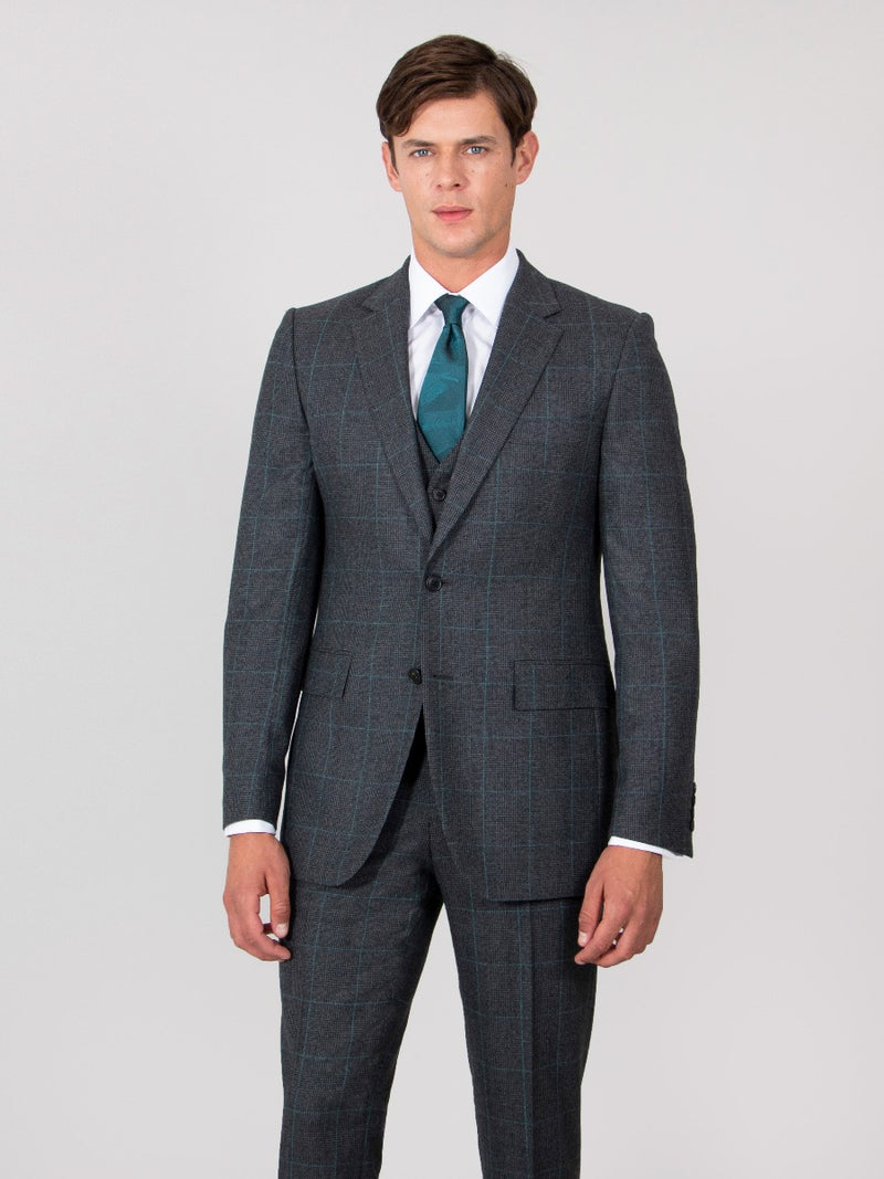 Charcoal And Teal Prince Of Wales Check Wool Three-piece Suit