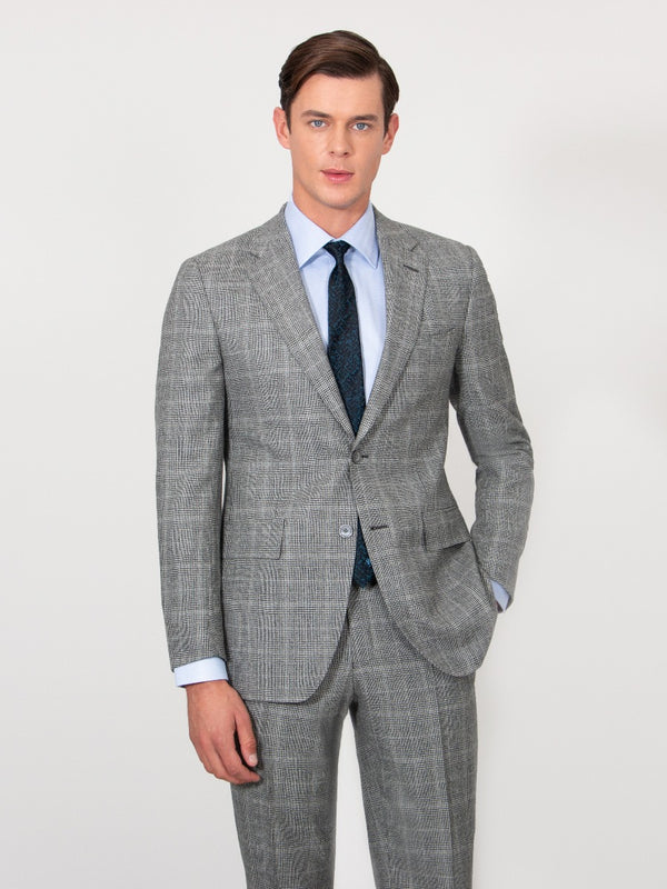 Grey Tonal Prince Of Wales Check Flannel Suit