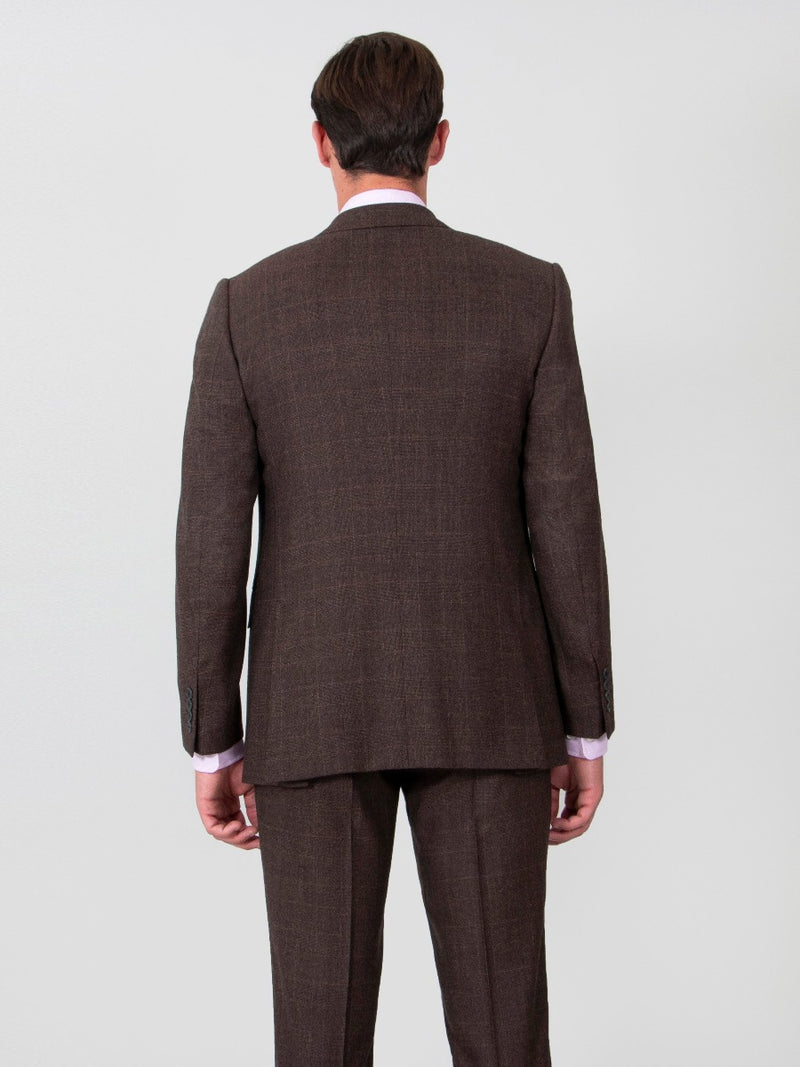 Chocolate Brown Superfine Wool Check Three-piece Suit