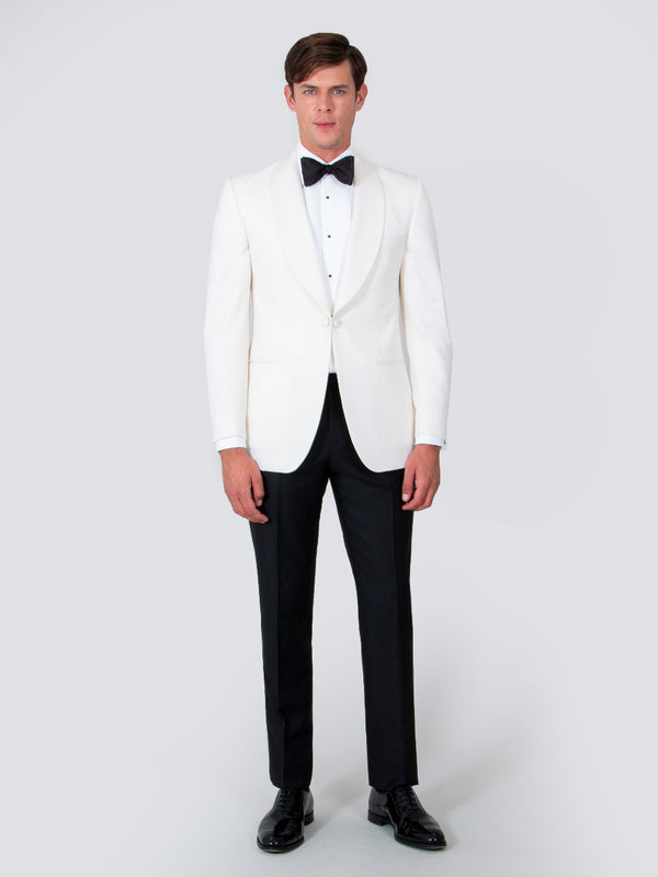 Off-white Gabardine Shawl Collar Dinner Jacket