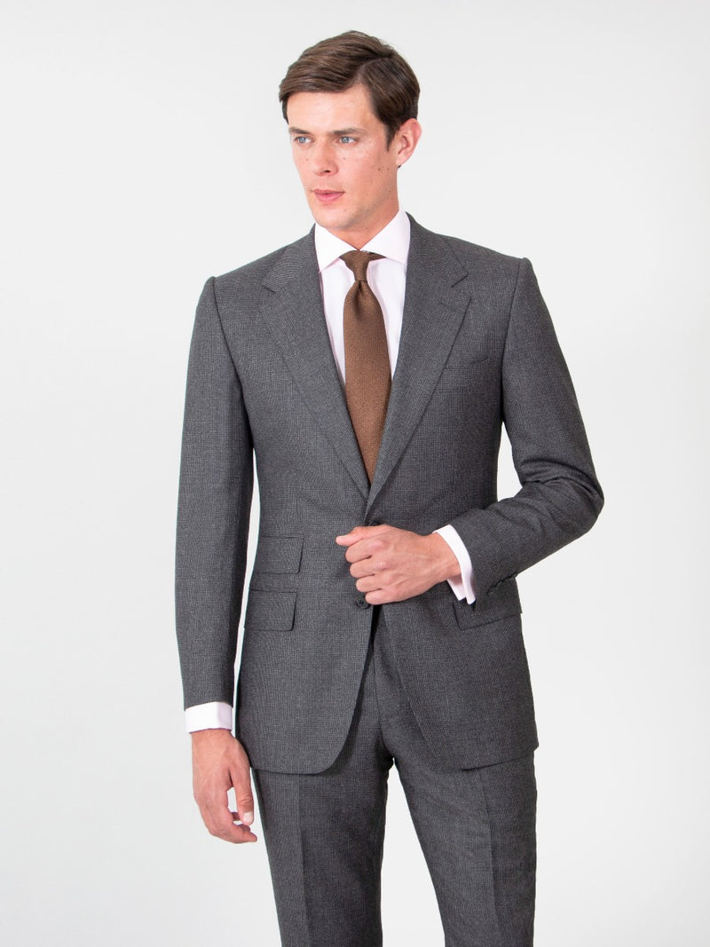 Charcoal Brown Superfine Wool Houndstooth Suit