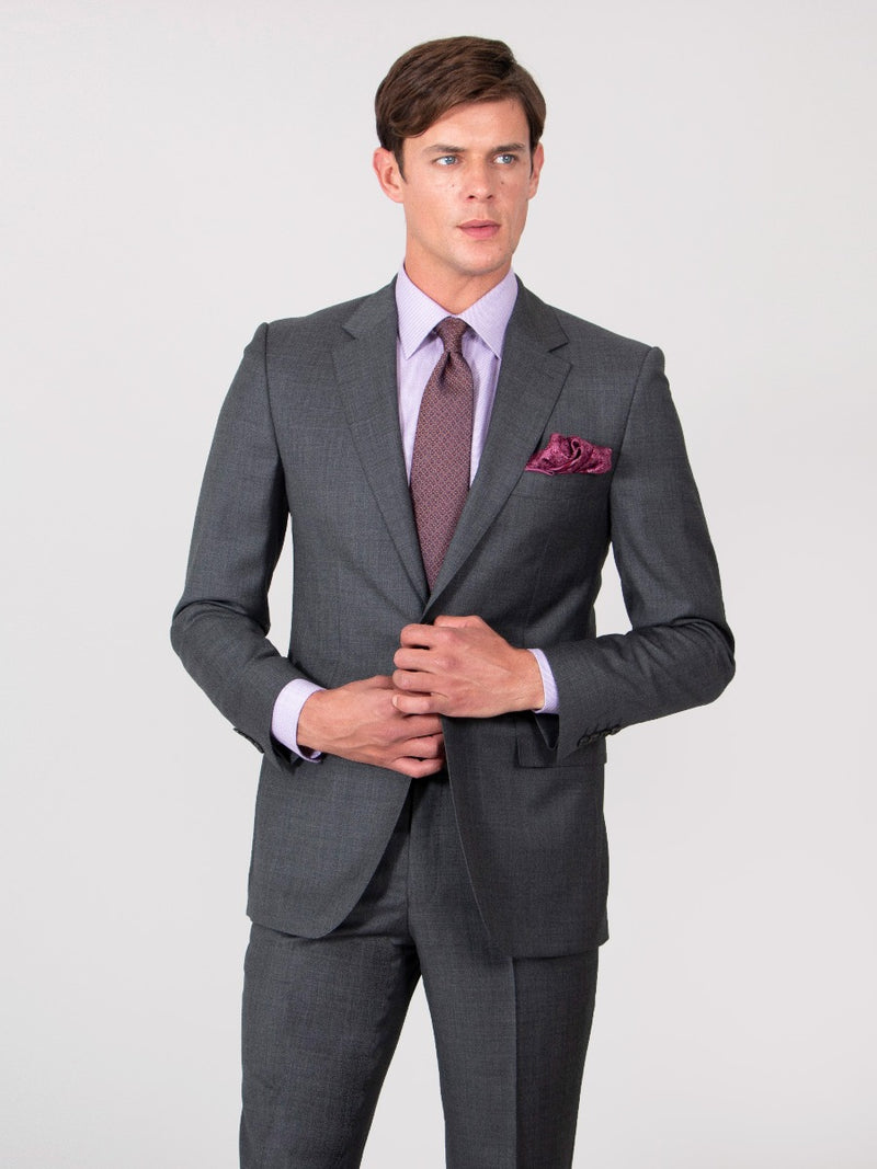 Textured Charcoal Wool Sharkskin Suit