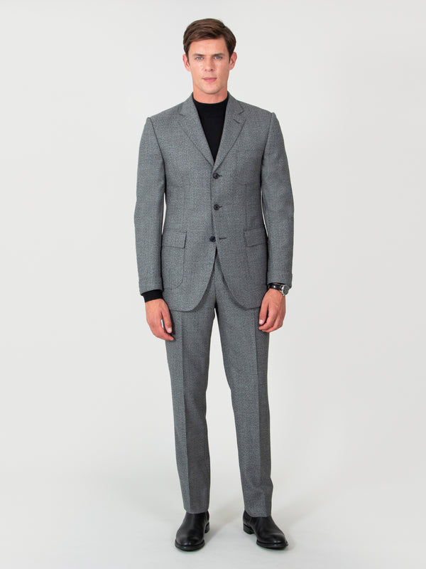 Mid-grey Three-button Luxury Wool Sharkskin Suit