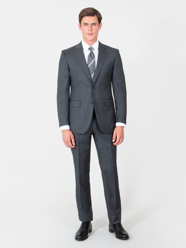 Charcoal Fine Nailhead Wool Suit Jacket