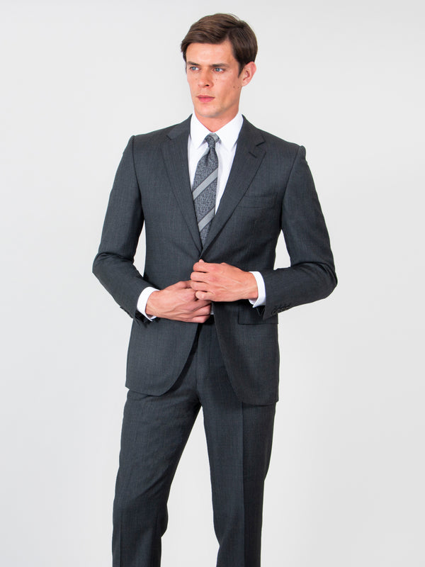 Charcoal Nailhead Wool Suit Jacket