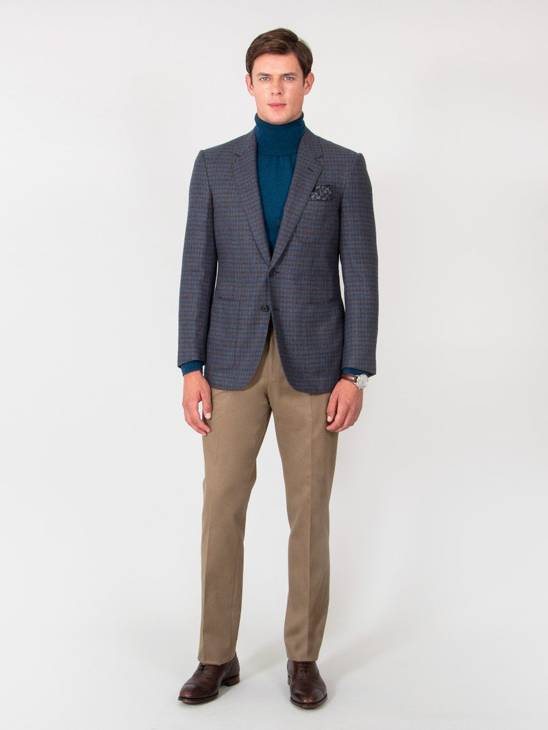 Wool And Cashmere Navy, Teal And Terracotta Check Jacket