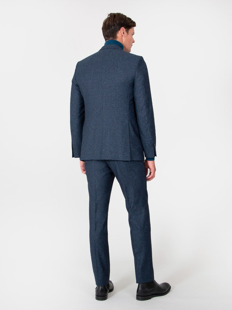 Navy Superfine Wool And Silk Textured Suit Jacket