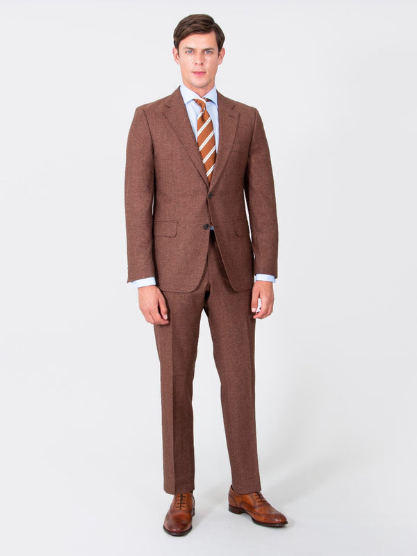 Terracotta Superfine Wool And Silk Textured Suit Jacket