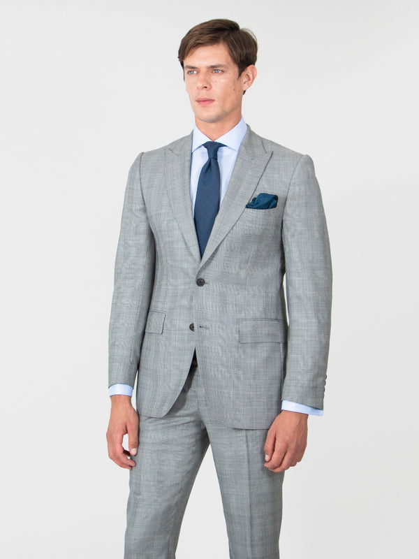 Dove Grey Wool Prince Of Wales Check Suit Jacket