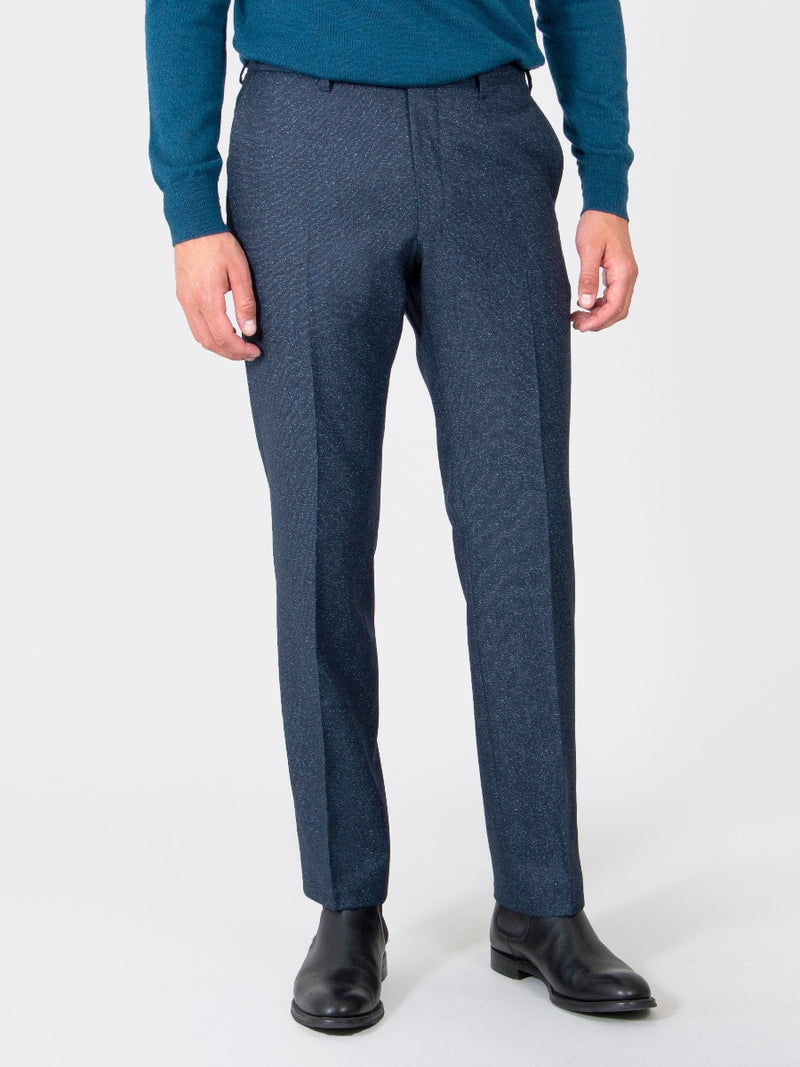 Navy Superfine Wool And Silk Textured Trousers