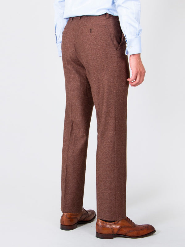 Terracotta Superfine Wool And Silk Textured Trousers