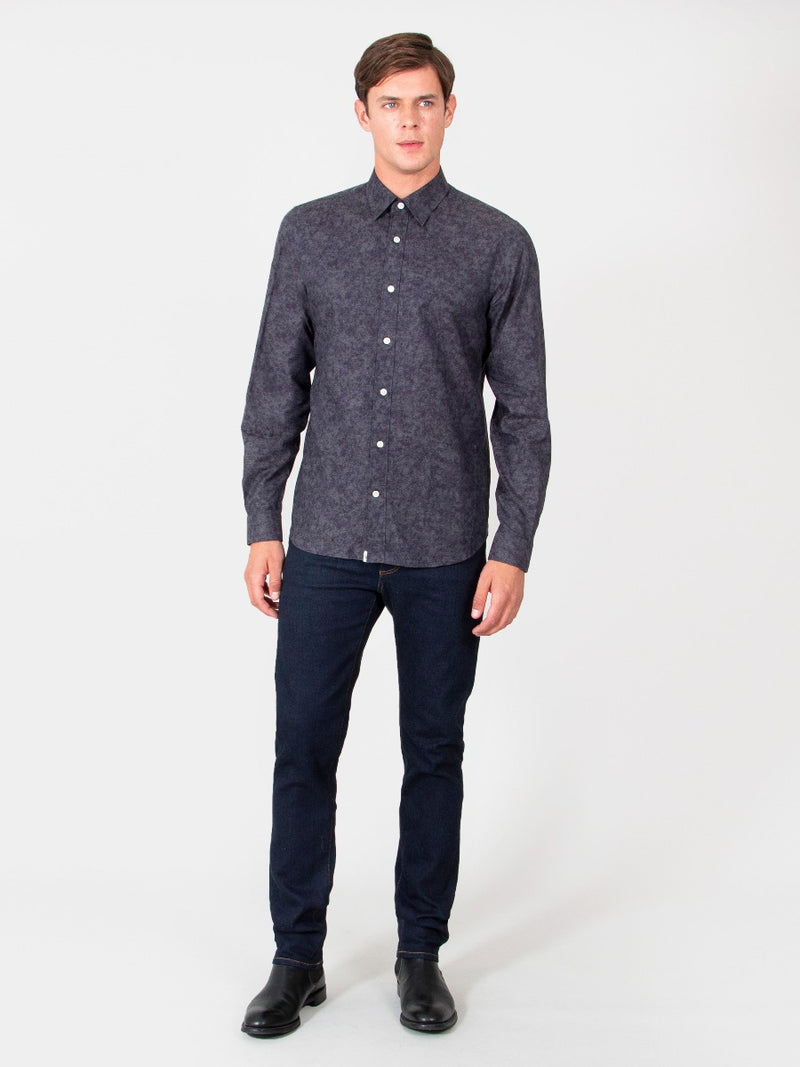 Charcoal Cotton Jacquard Casual Shirt