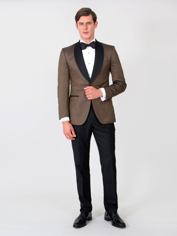 Bronze And Black Silk Jacquard Evening Jacket