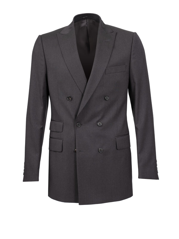 Charcoal Double Breasted Peak Lapel Jacket