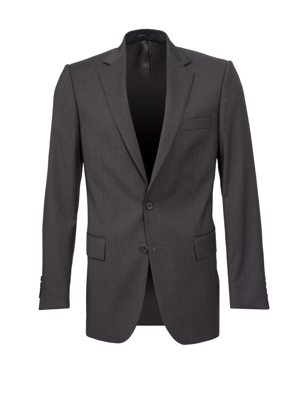 Charcoal Plainweave Single Breasted Suit Jacket