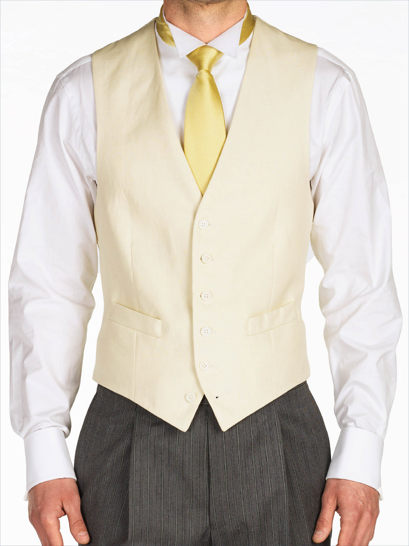 Pale Yellow Single Breasted Waistcoat