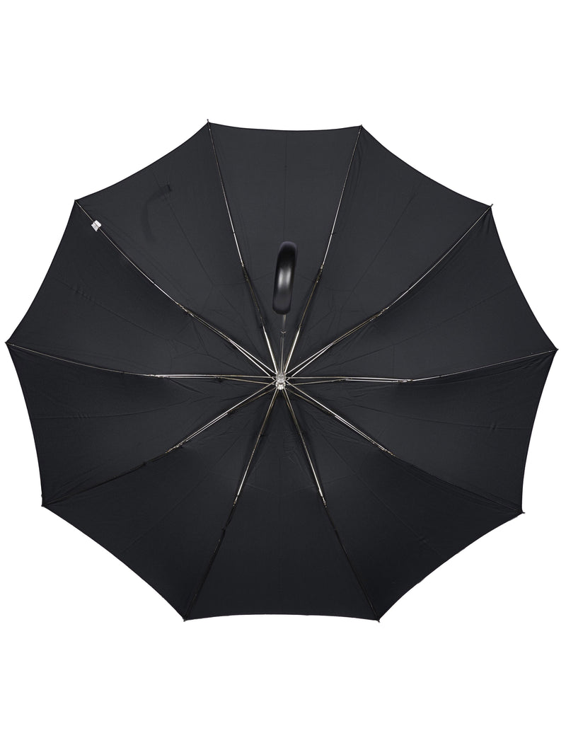 Black Telescopic Maple Wood Crook Handle Umbrella