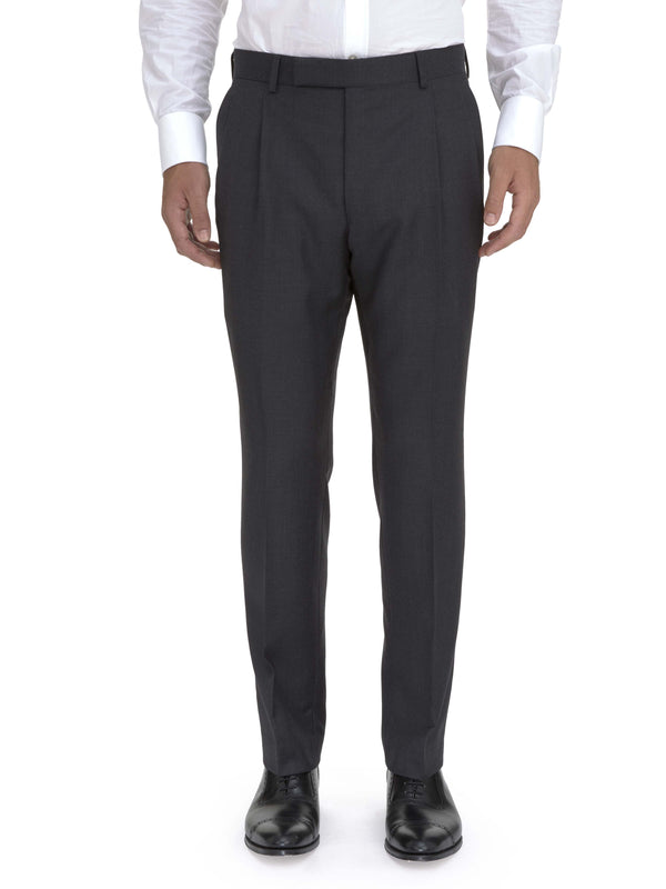 Double Pleated Charcoal Suit Trouser
