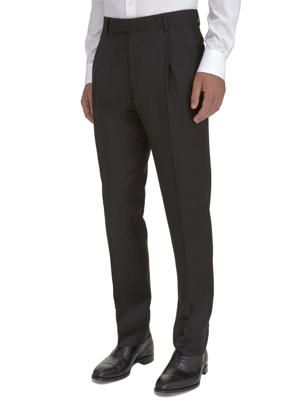 Double Pleated Black Wool Twill Trouser