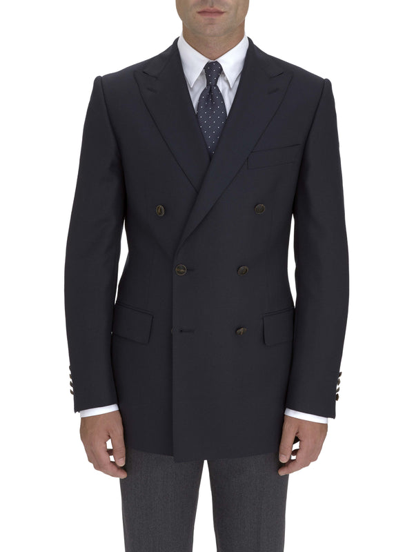 Double Breasted Navy Hopsack Blazer