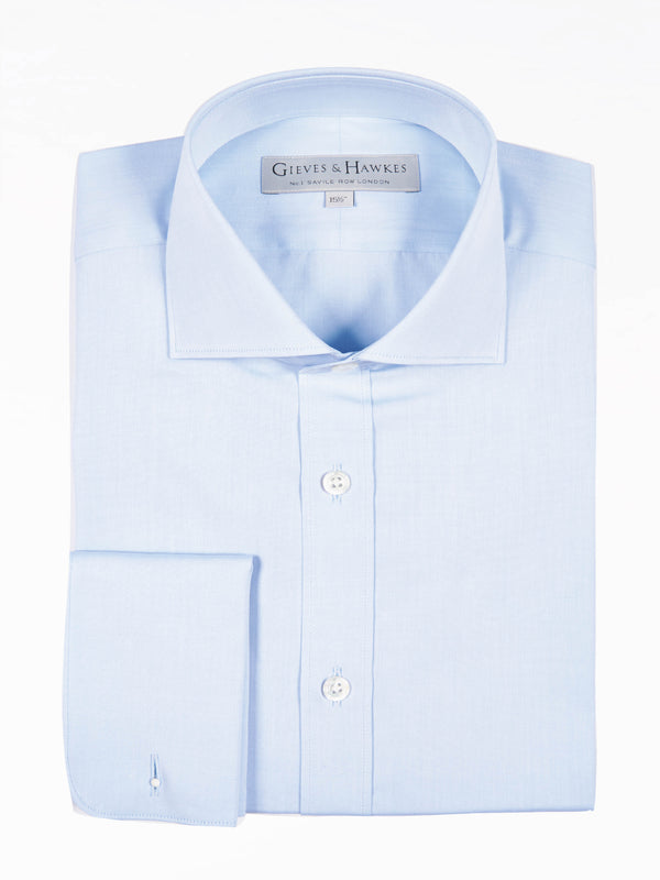 Eggshell Blue Poplin Tailored Fit Business Shirt