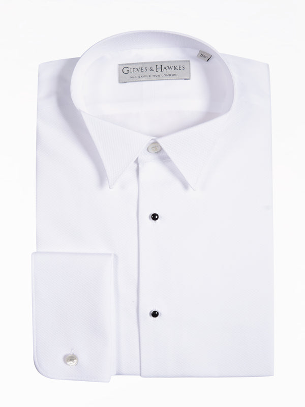 White Cotton Wing Collar Evening Shirt