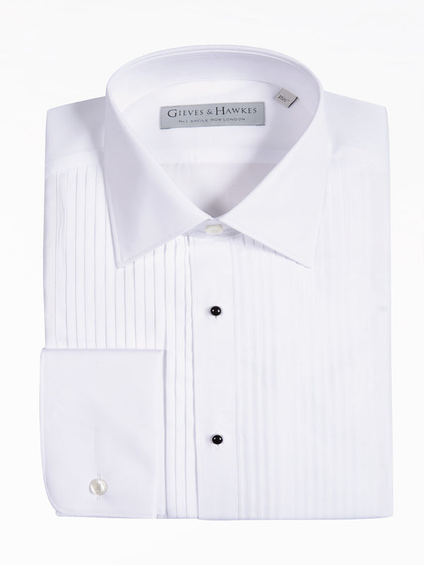 White Cotton Pleated Front Evening Shirt