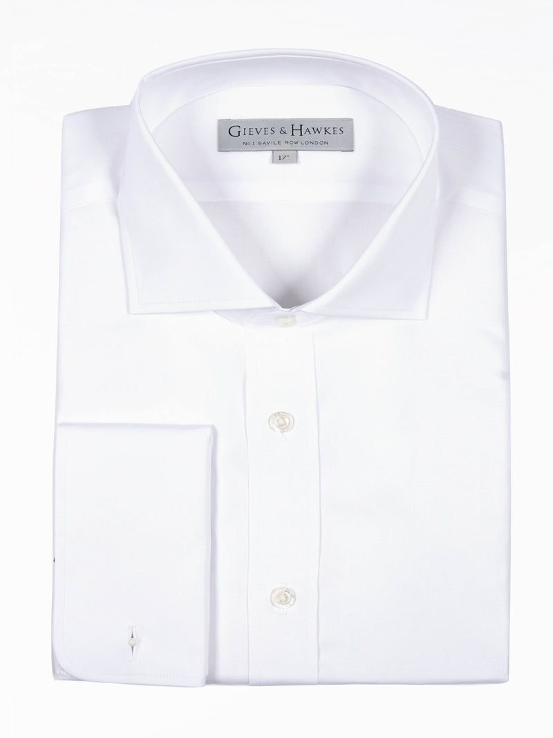 Classic White Poplin Double Cuff Business Shirt