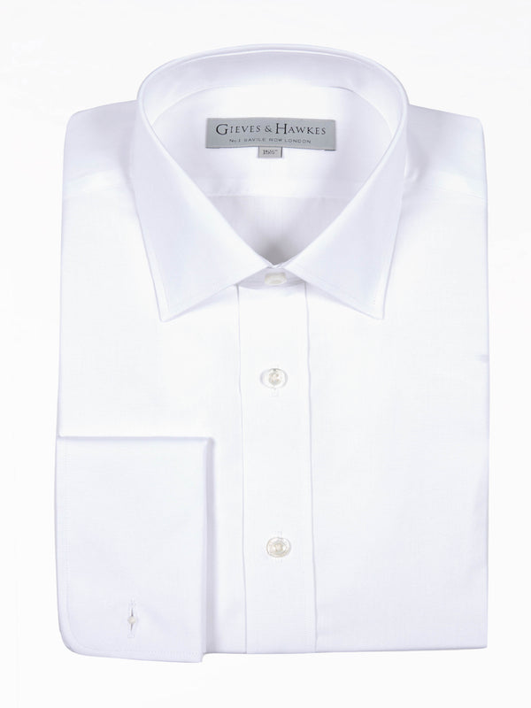 Classic White Semi-spread Collar Poplin Business Shirt