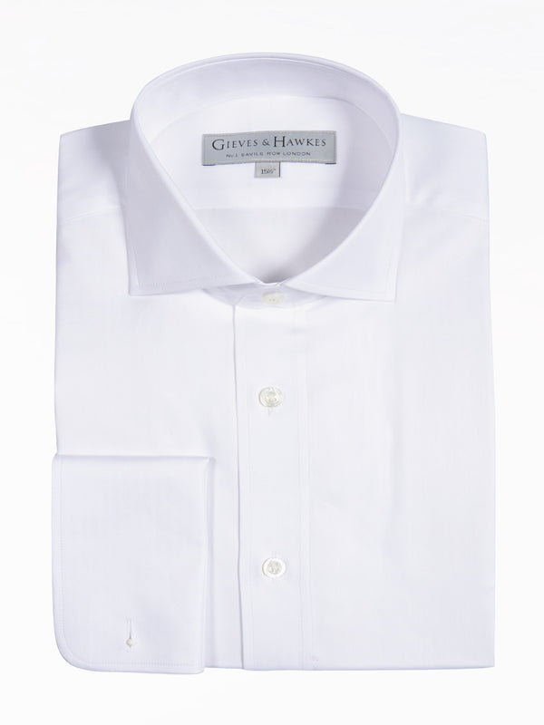 White Herringbone Business Shirt