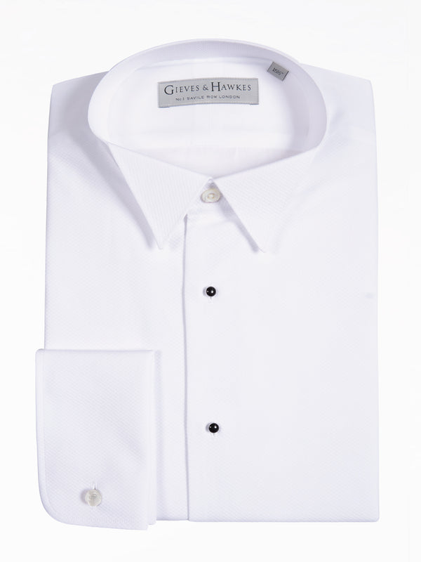 Classic Fit White Cotton Wing Collar Evening Shirt