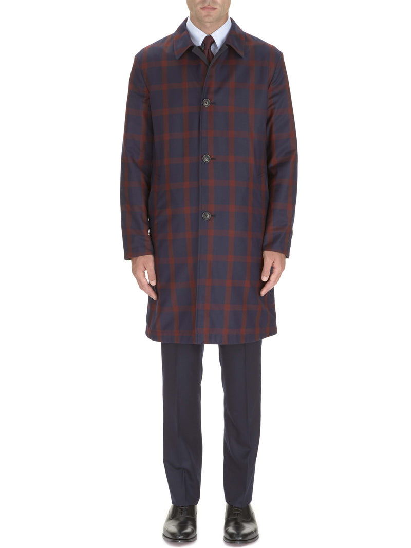 Navy And Burgundy Windowpane Reversible Topcoat
