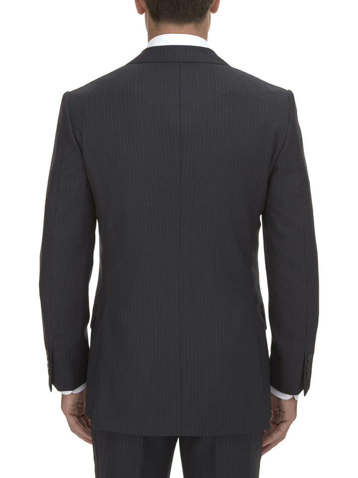 Charcoal Pinstripe Wool Suit Jacket