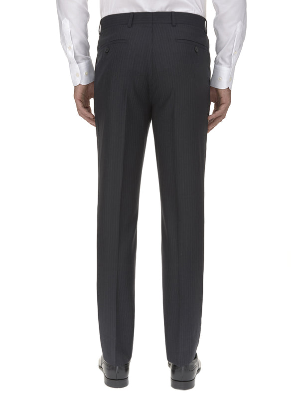 Charcoal Pinstripe Wool Suit Trousers