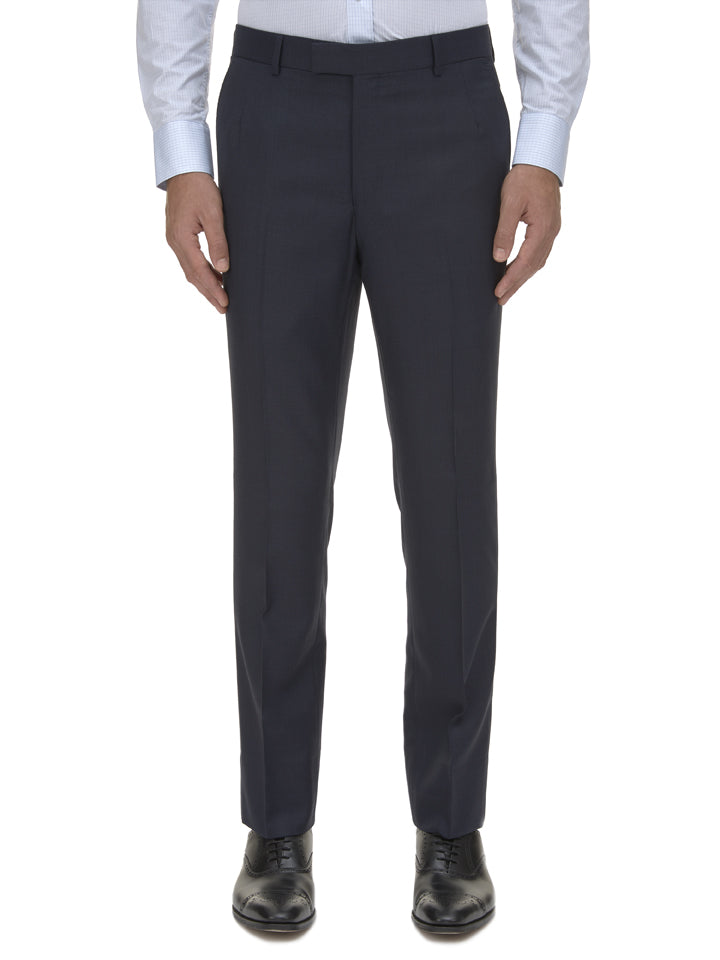 Navy Birdseye Wool Suit Trousers