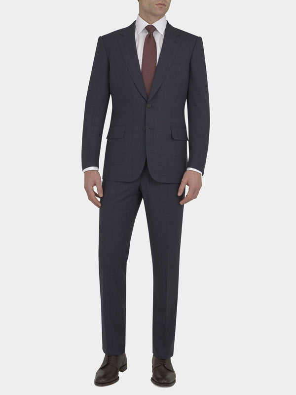 Navy Full Canvas Wool Windowpane Check Suit