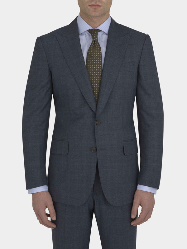 Medium Blue Full Canvas Wool Textured Suit