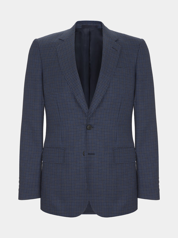 Navy Full Canvas Club Check Cashmere And Silk Jacket