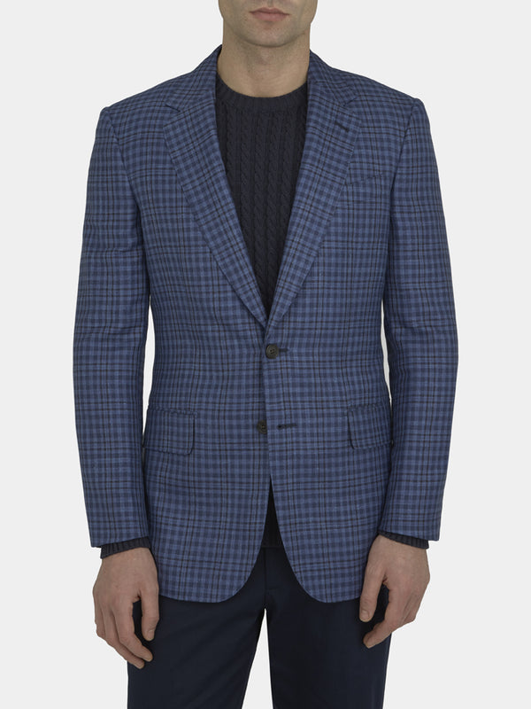 Royal Blue Full Canvas Tonal Check Wool, Silk And Linen Jacket