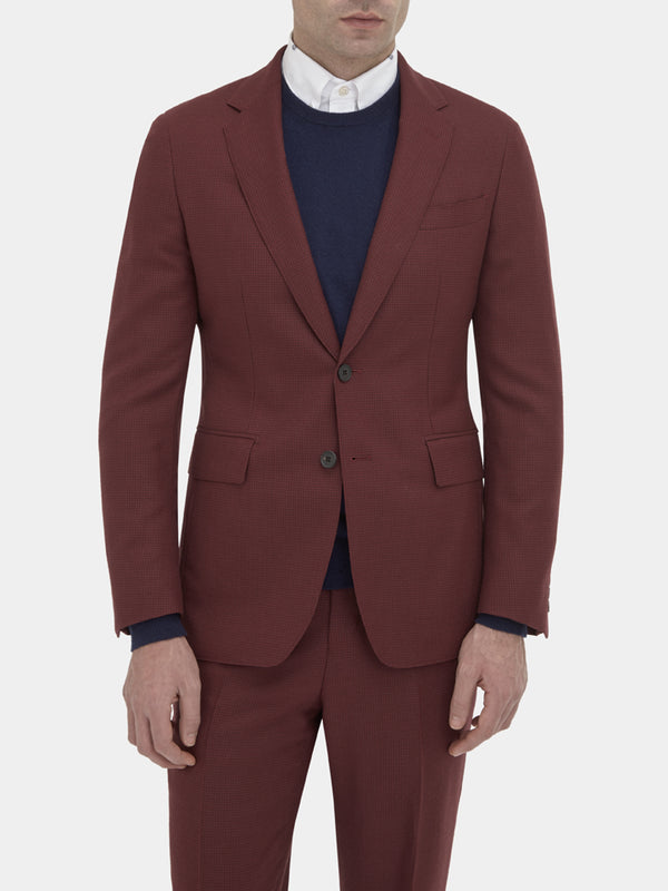 Burgundy Lightweight Wool Houndstooth Soft-tailored Jacket