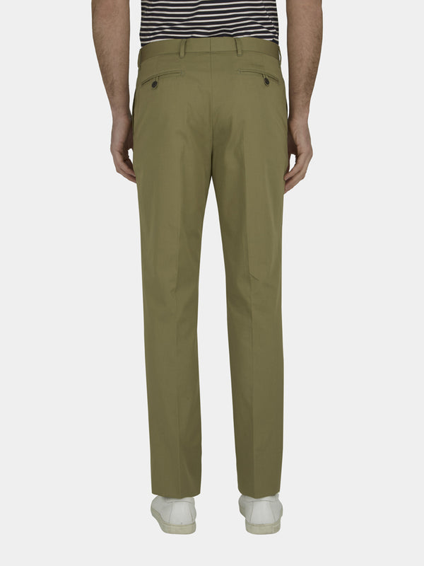Green Slim Fit Cotton Chinos