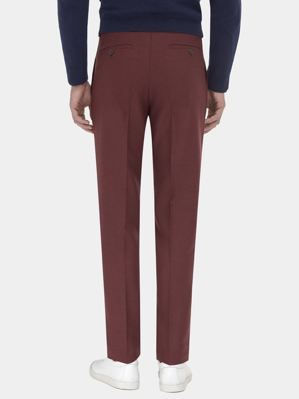 Burgundy Lightweight Wool Houndstooth Trousers